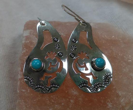 Turquoise Kokopelli Earrings